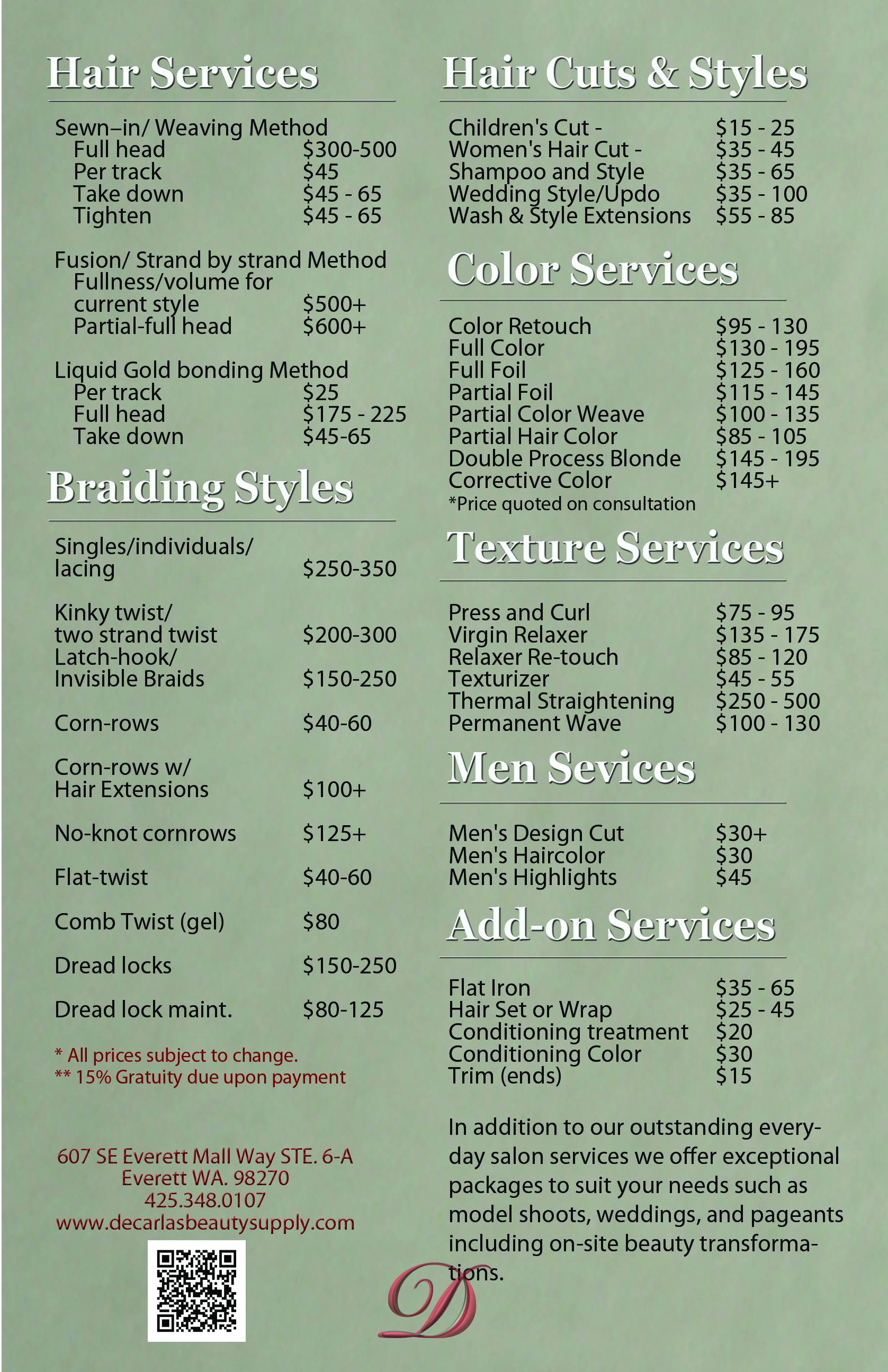 Salon Hair Prices African American Decarla S Beauty